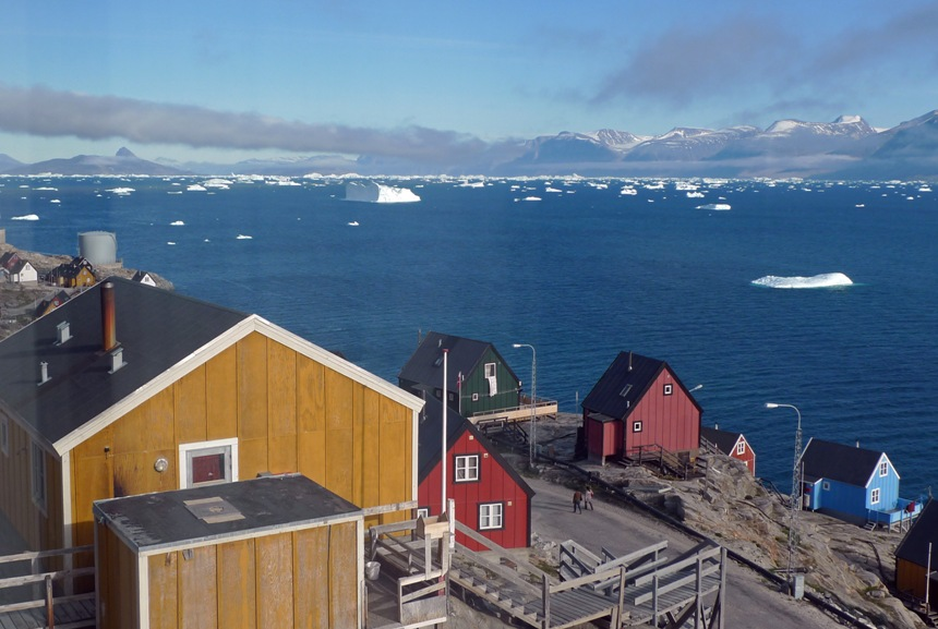 View from house window (Across Uummannaq towards Ikerasak)
